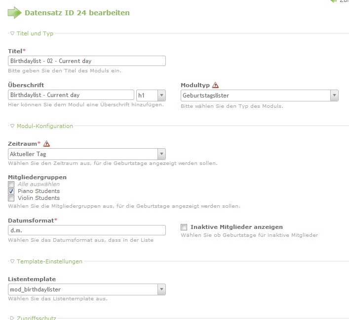 Screenshot: System settings