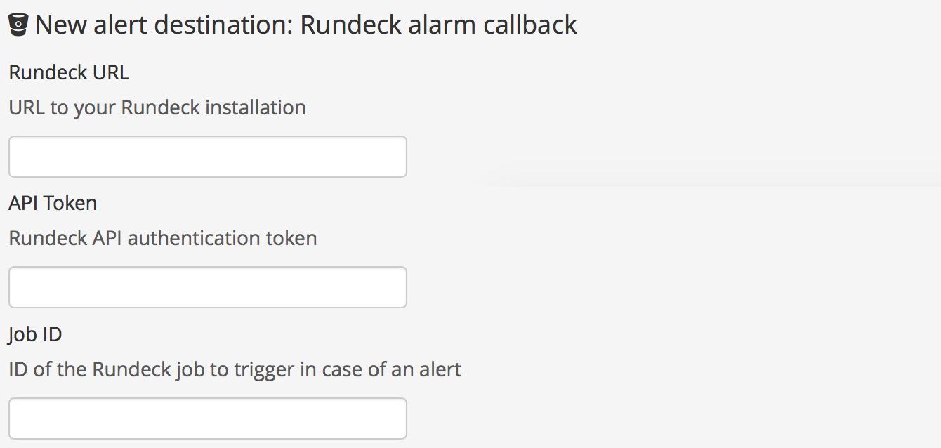 Screenshot: Adding a Rundeck alarm callback