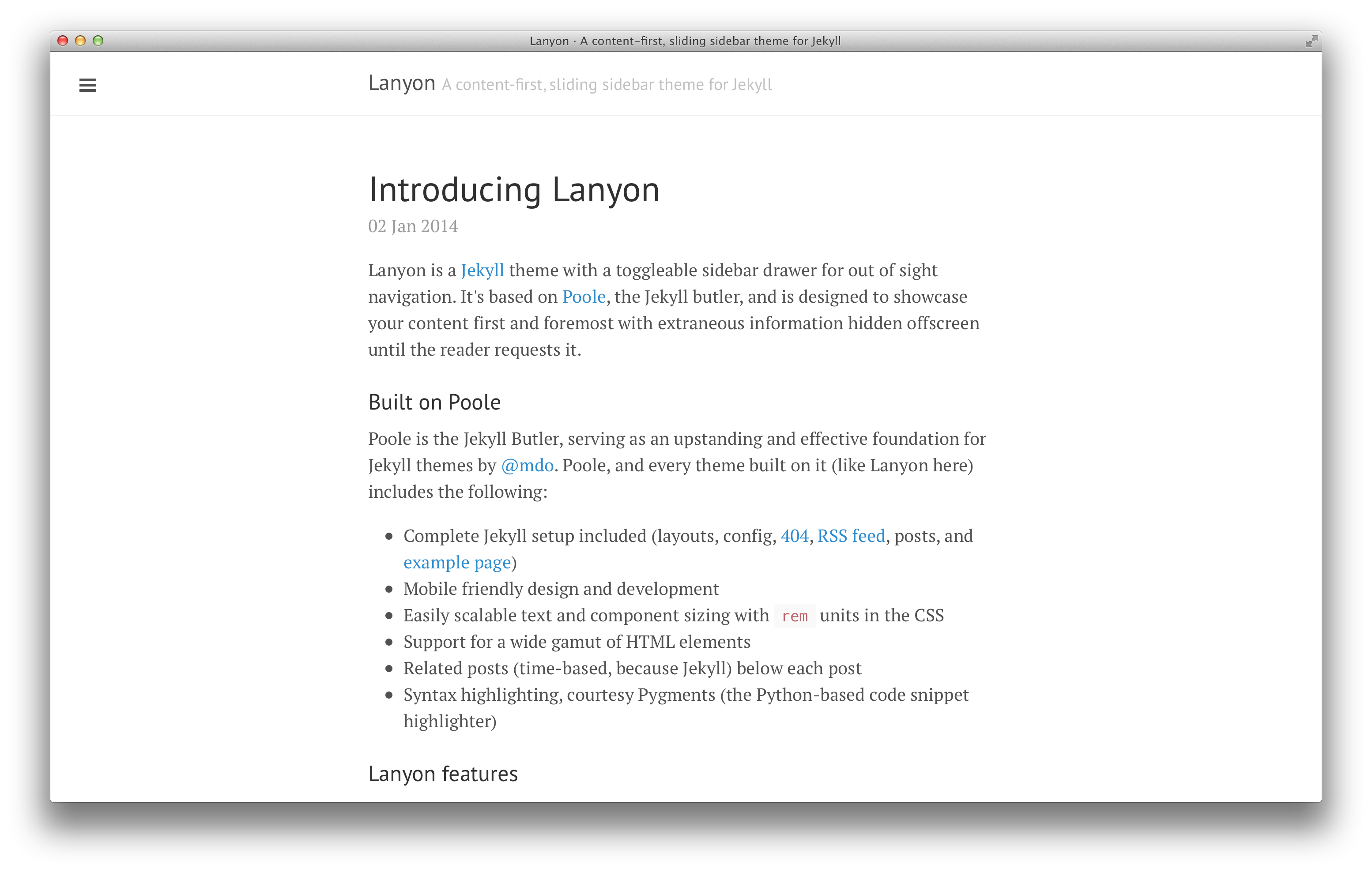 GitHub - poole/lanyon: A content-first, sliding sidebar theme for