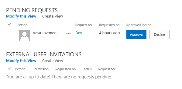 UI with pending request status