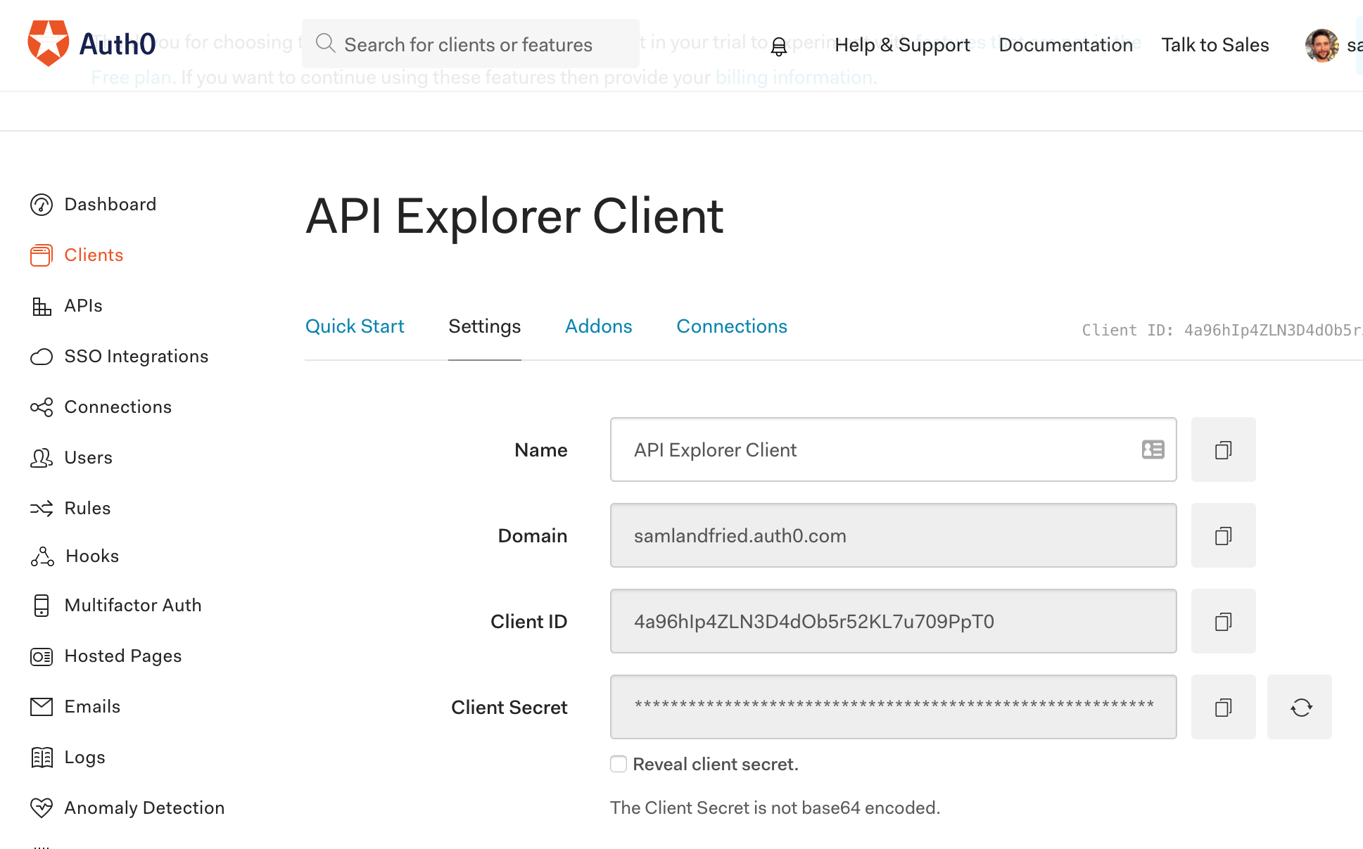 Get your Auth0 client secret and id