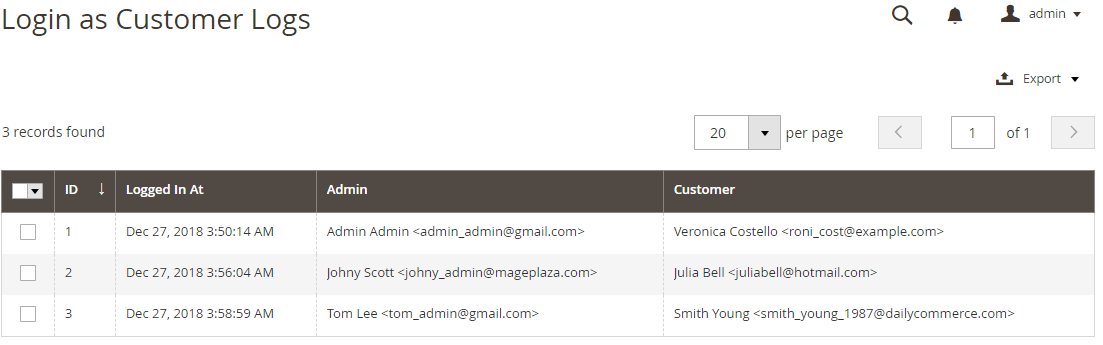Magento 2 Login as Customer Logs