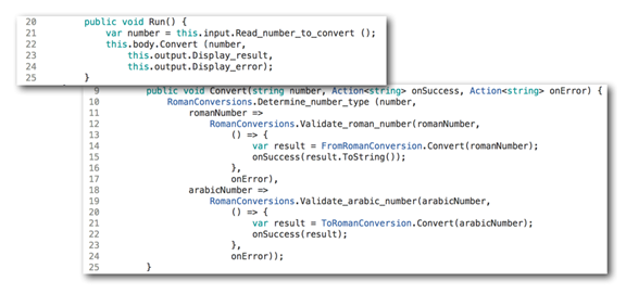 C# implementation of Convert and Run methods