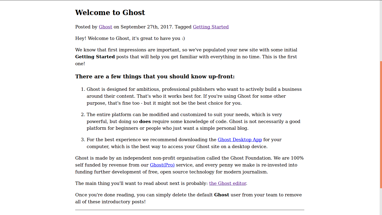 """Screenshot of """"undefined"""" — a starter theme for Ghost"""