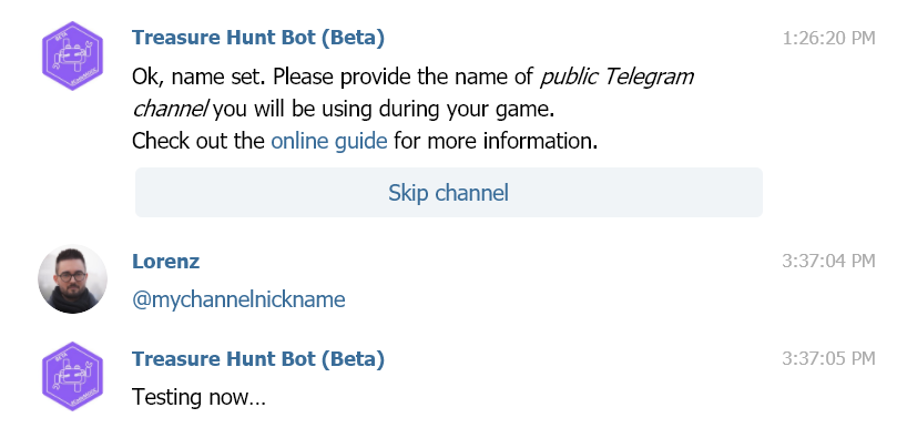 Conversation with the bot, setting the channel nickname