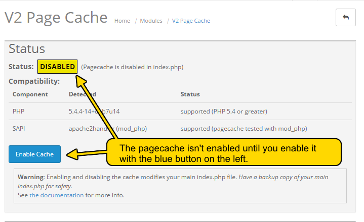Enabling the Page Cache