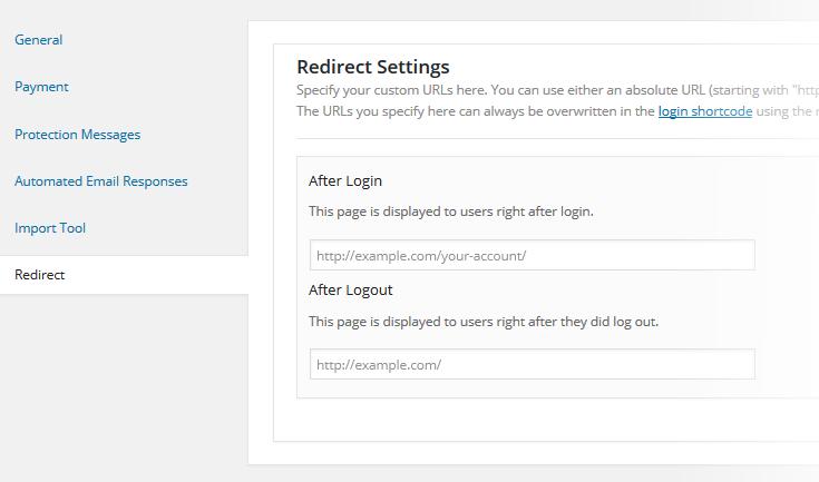 M2 Redirect Settings