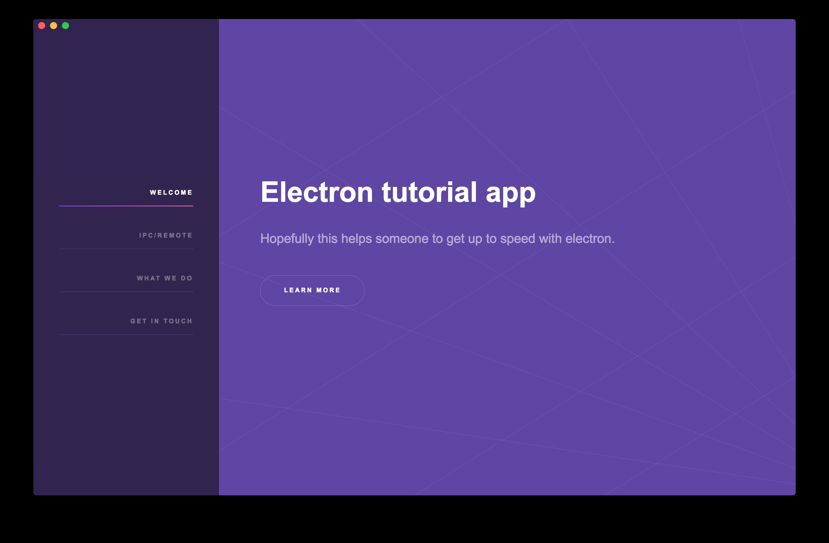 Electron tutorial app