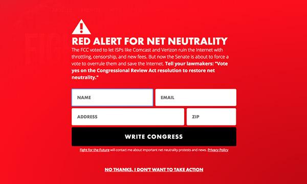 A screenshot of our Red Alert modal
