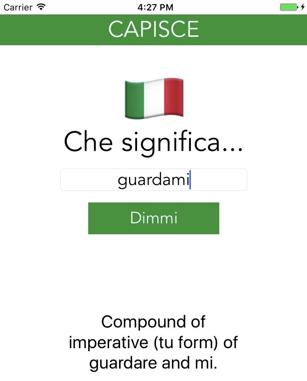 Capisce app screenshot with grammar help