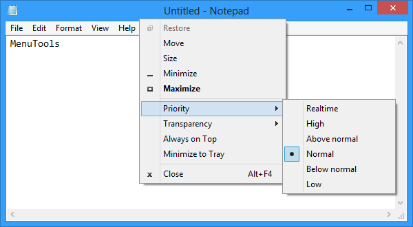 Notepad running on Windows 8 x64