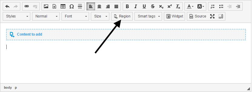 Insert dynamic region into widget