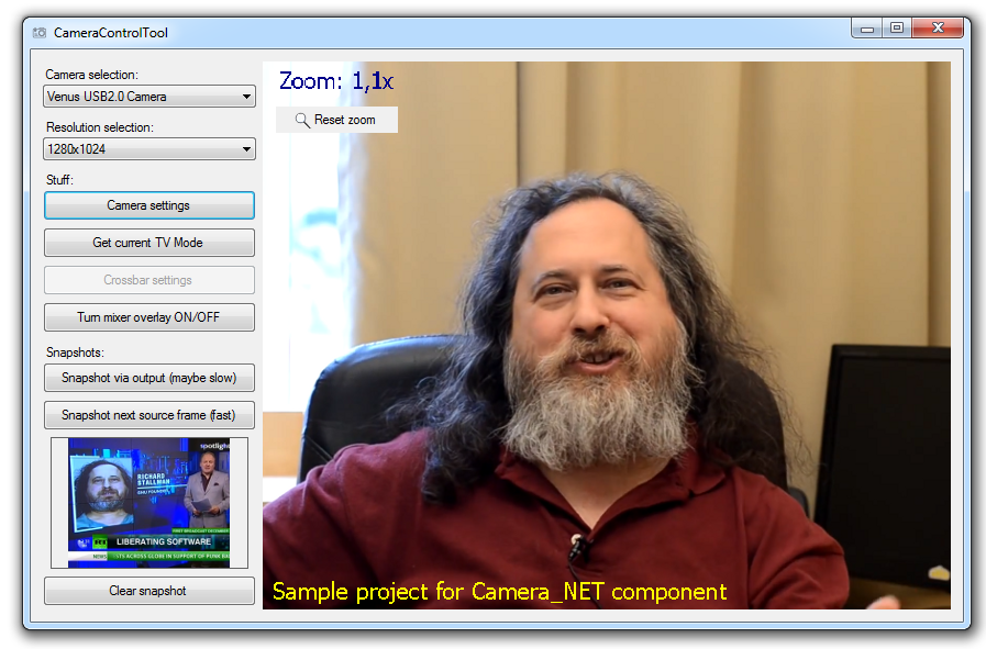 Complicated sample of Camera_Net library use. Stranger on television.