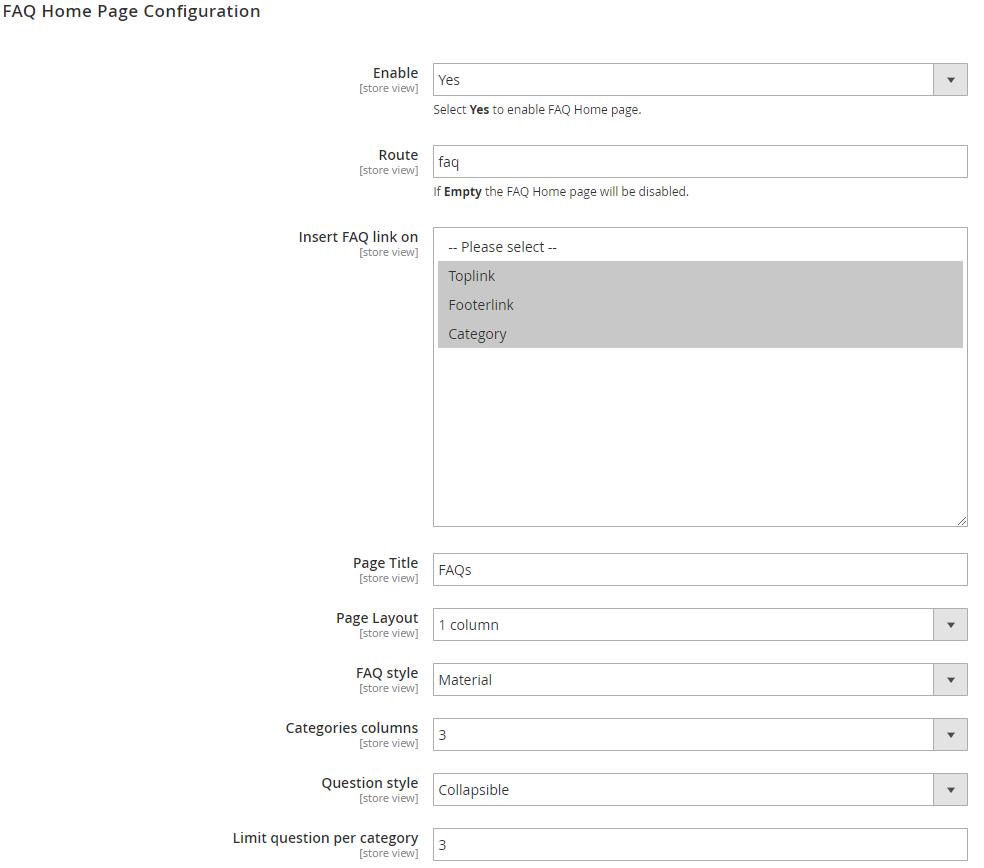 faq homepage configuration