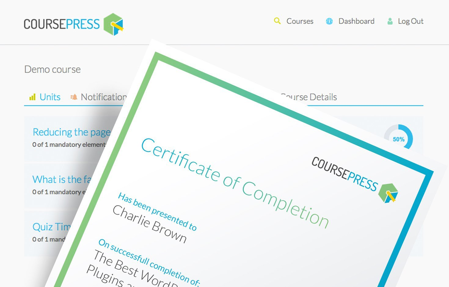 Create custom certificates for every course.