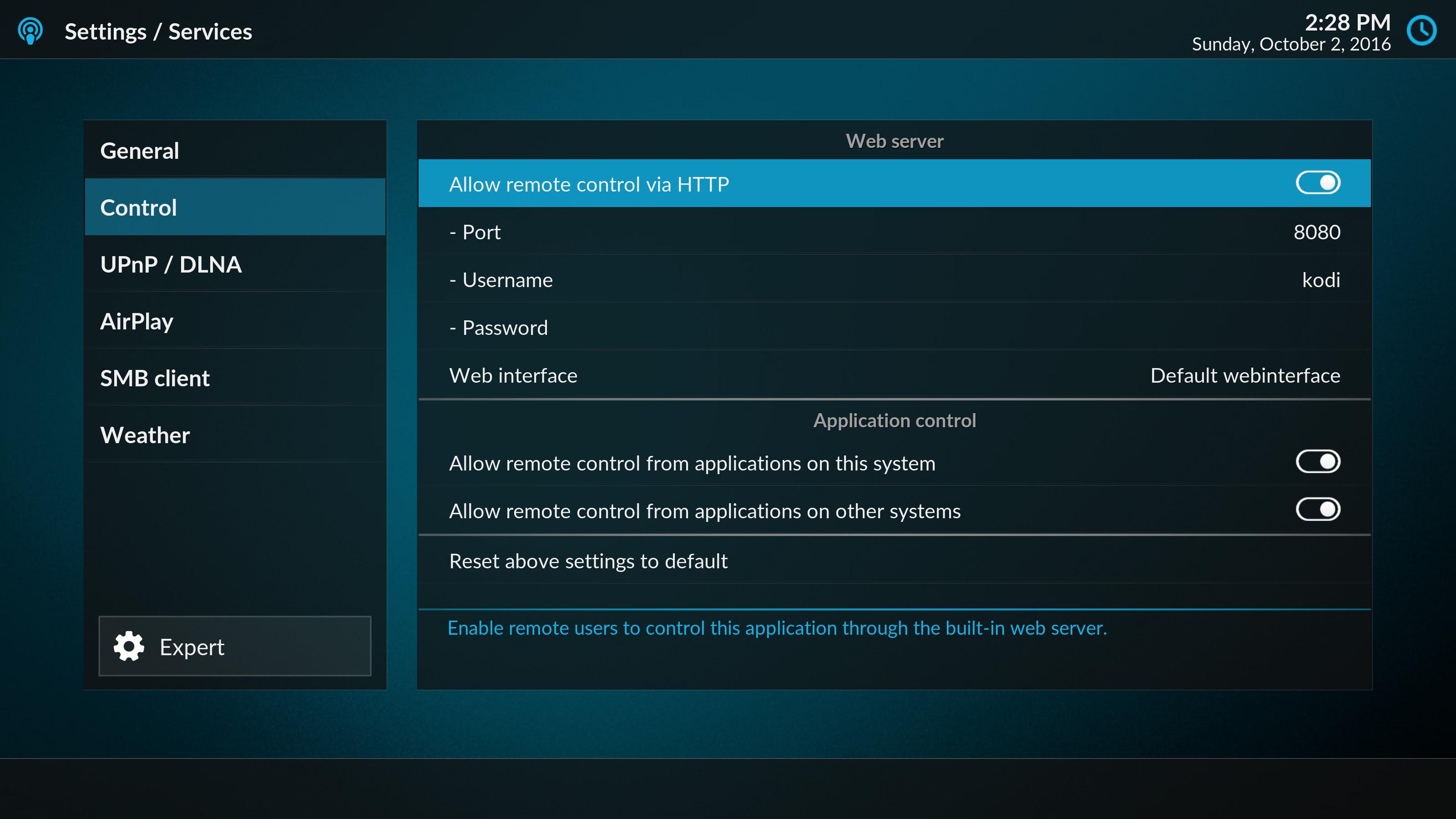 Kodi settings