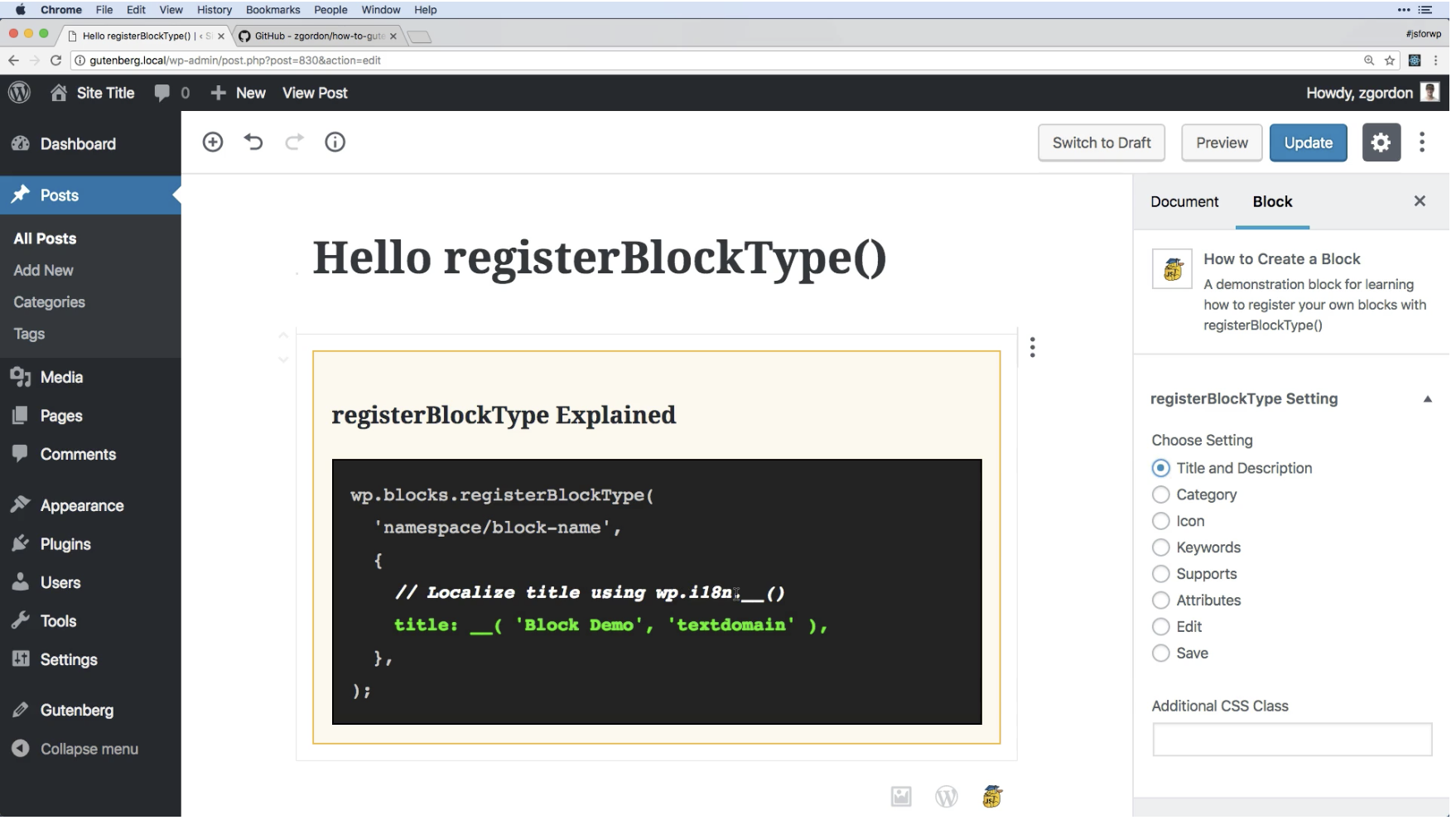 Screenshot of block installed showing the title setting