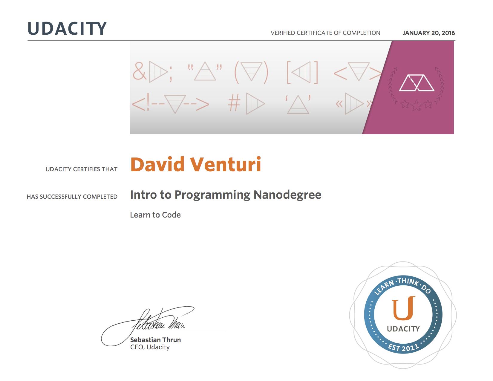Udacity Intro to Programming Nanodegree Certificate