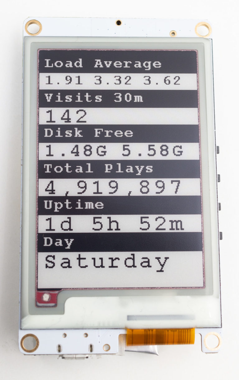 Photograph of ESP32 with E-Paper showing status display