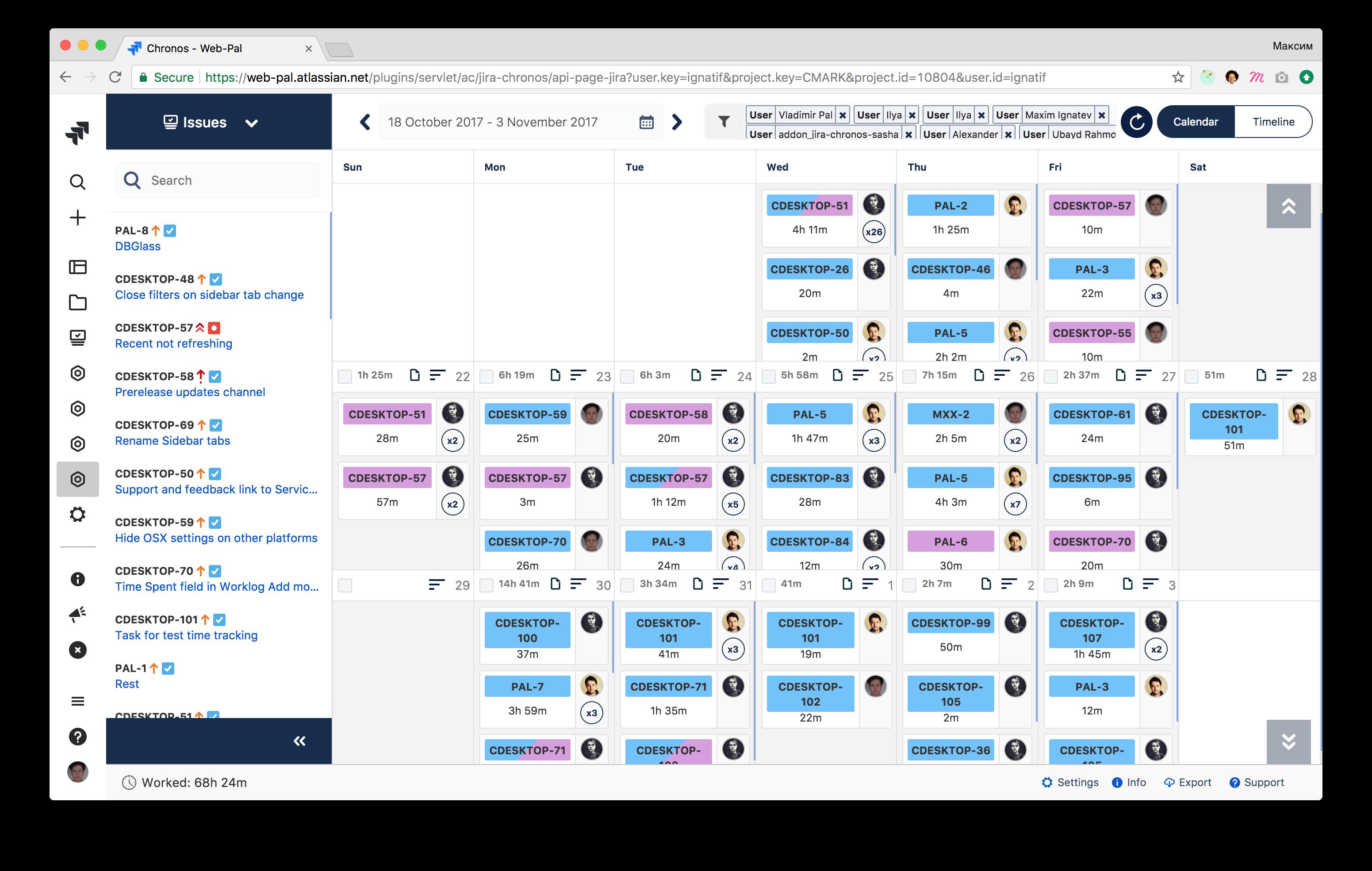 Chronos-timesheets Screenshot