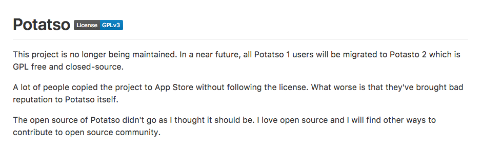 README.md stated his reason deleting all source code