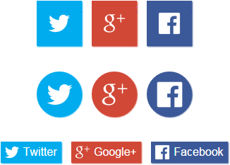 3 different styles of <social-sharer>