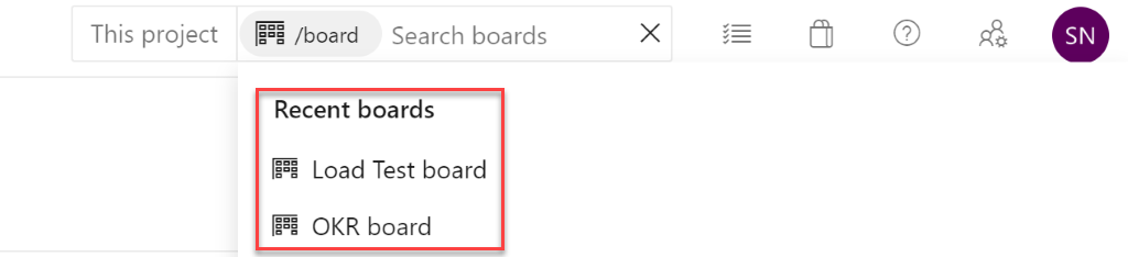 Quick navigation in Azure Boards search2