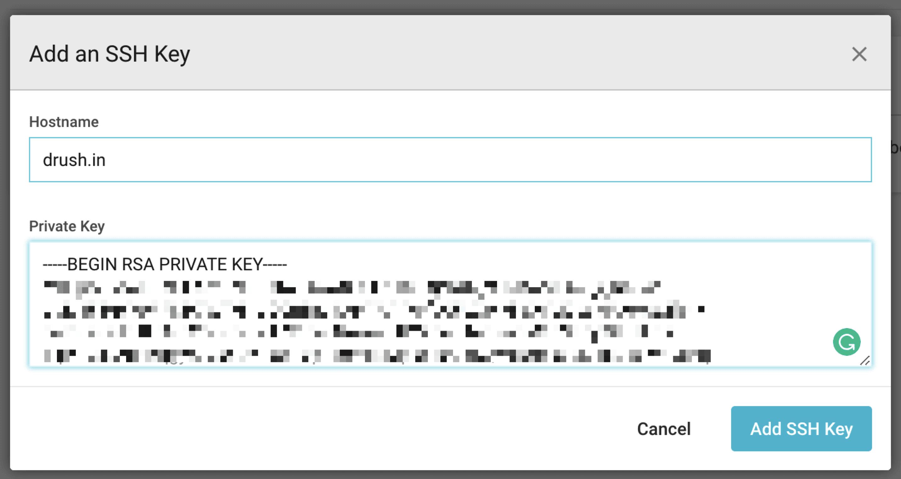 SSH key modal window