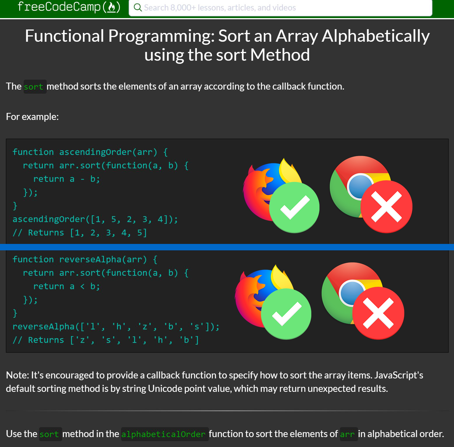 Update text in Sort an Array Alphabetically using the sort