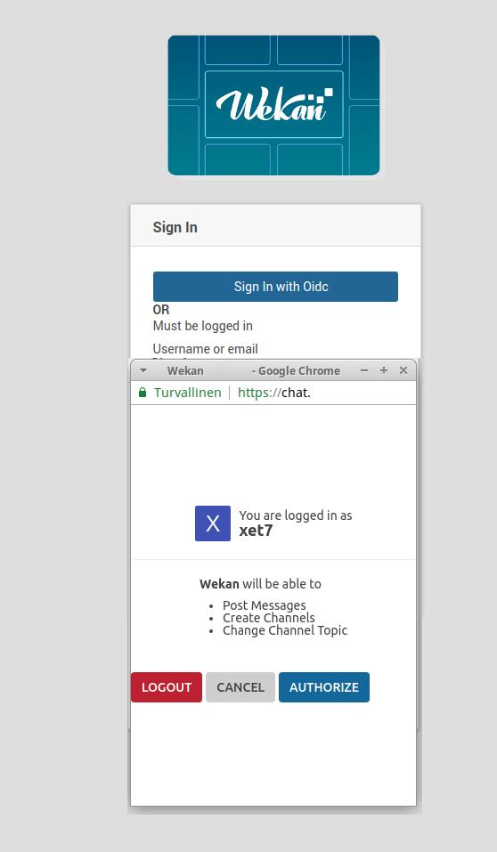 Wekan login to Rocket.Chat