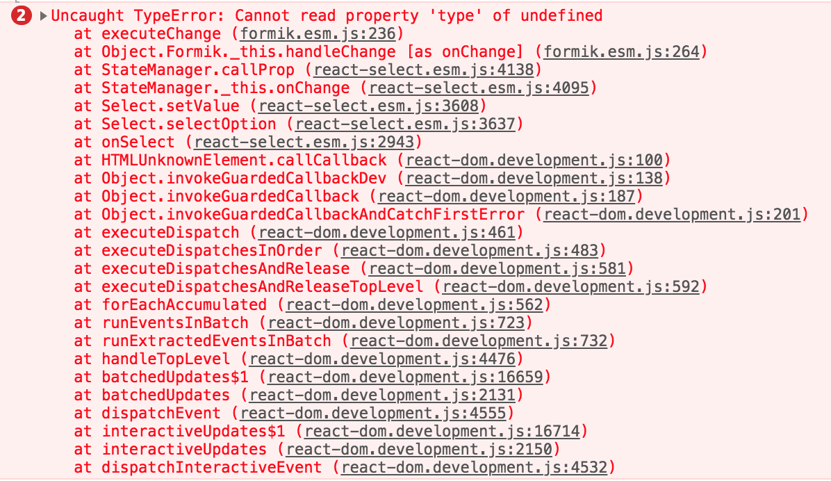 Cannot read property 'type' of undefined