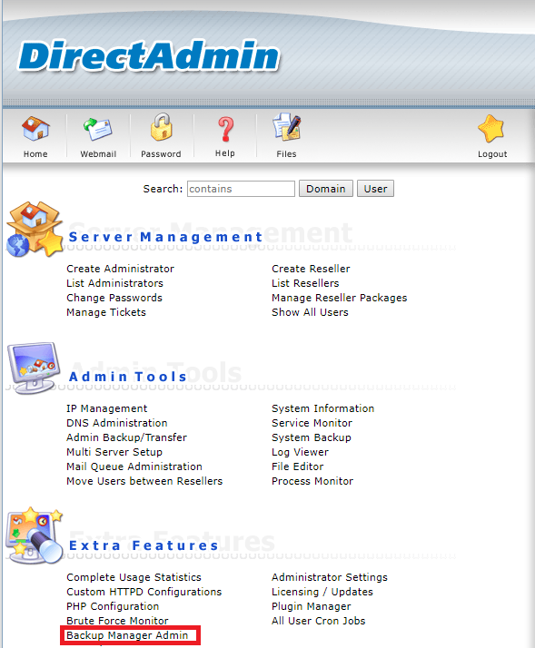 DirectAdmin plugin manager