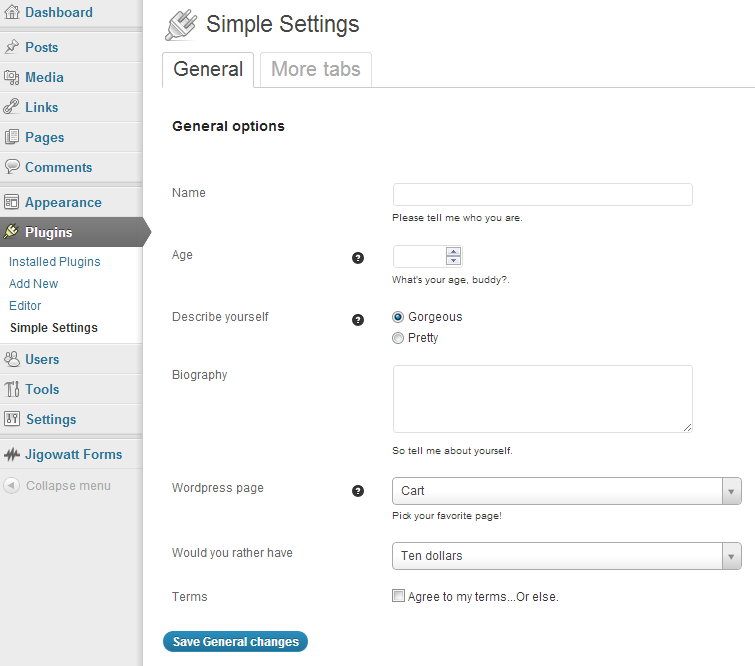 settings page example