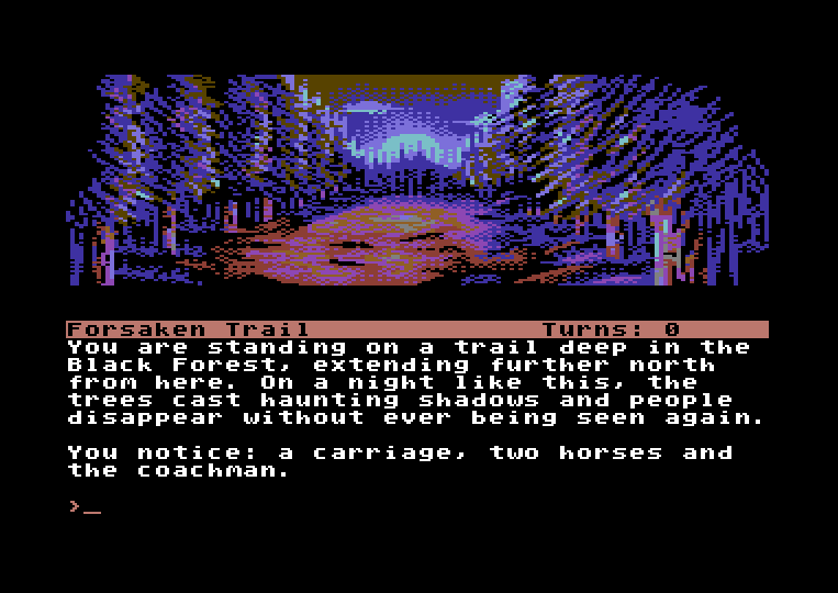 The Curse of Rabenstein (C64 version) by Stefan Vogt, copyright (c) 2020 Puddle Software. Created with DAAD, using Maluva for pixel image support.