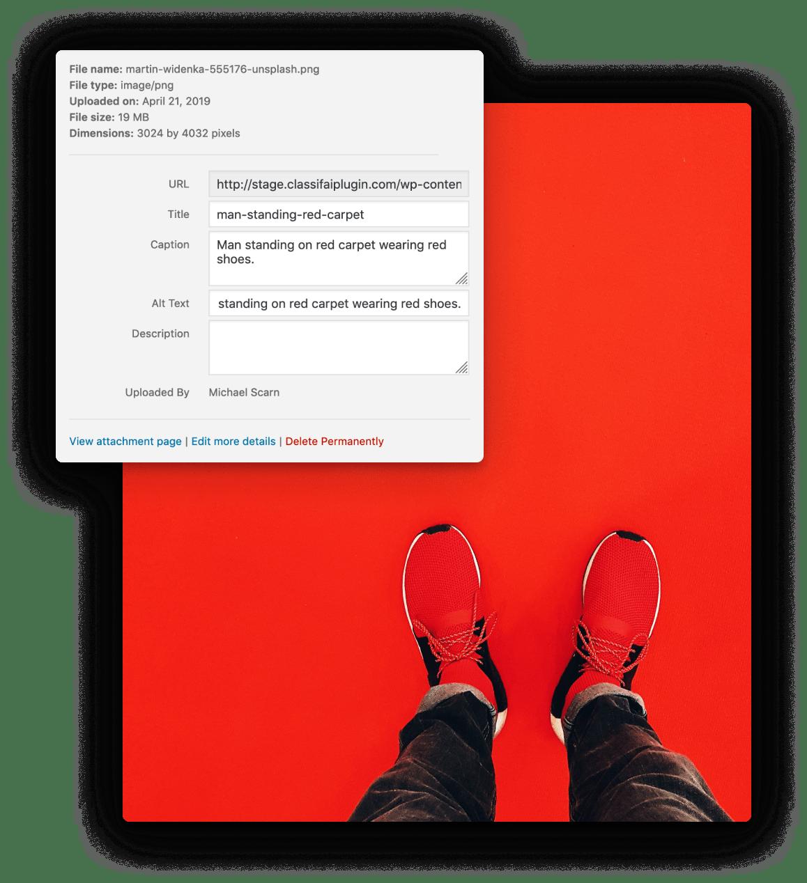 Screenshot of ClassifAI alt-text