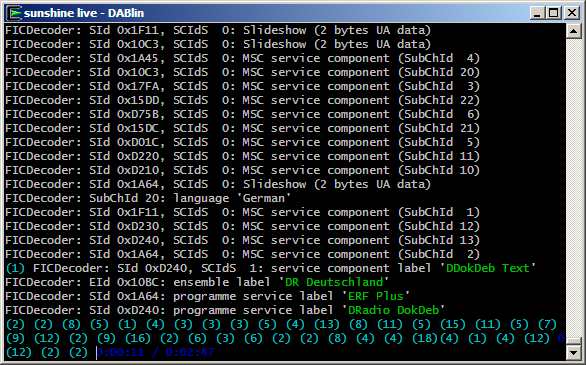 Screenshot of the console version on Windows (Cygwin)
