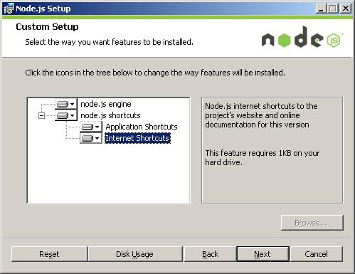 node js-installer-shortcutfeature