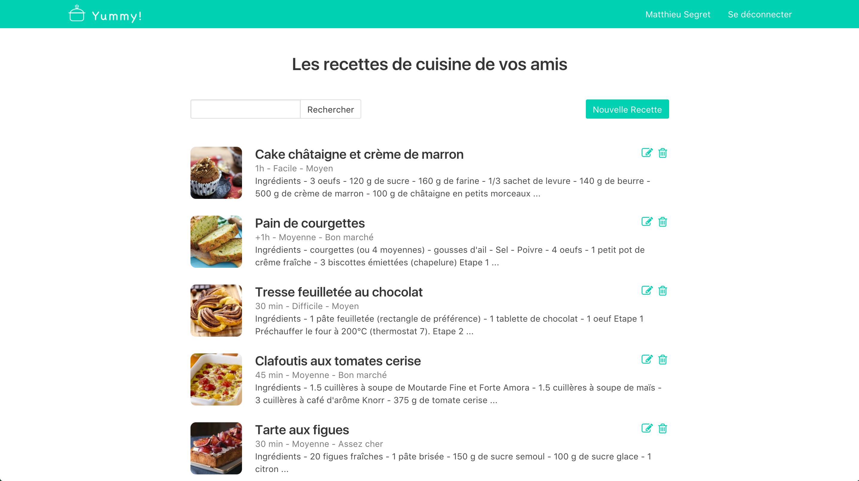 Listing recipes