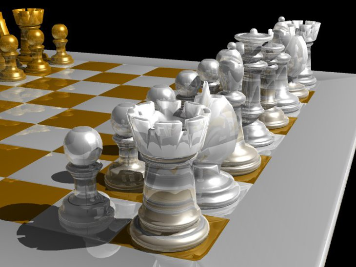 Generated in the renderer's raytracing mode, with reflections and refractions enabled.