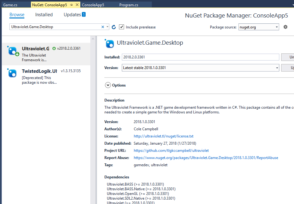 Manage NuGet Packages dialog