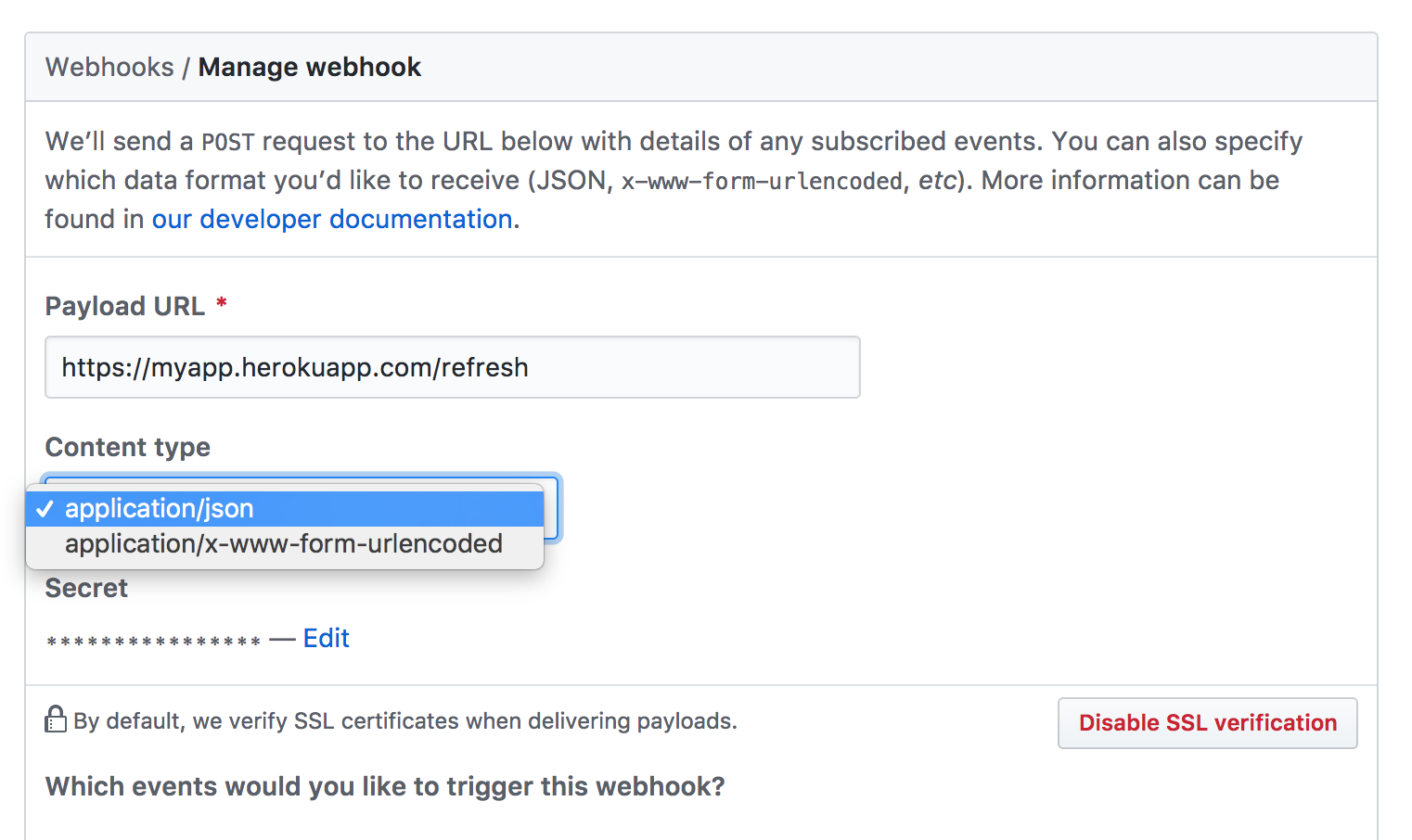 setting content type for github webhook by choxi · Pull