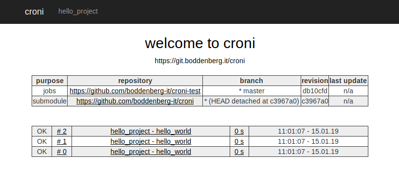 croni welcome page
