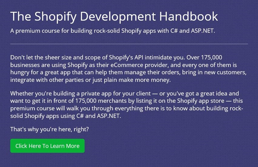 Learn how to build rock-solid Shopify apps with C# and ASP.NET