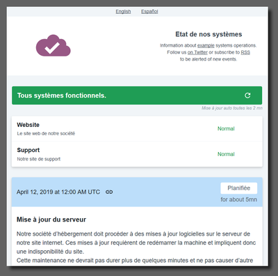 Sample French Clearstatus multilingual status page