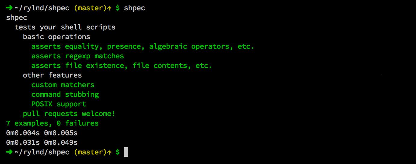 Screenshot of shpec