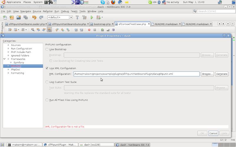 NetBeans phpunit configuration