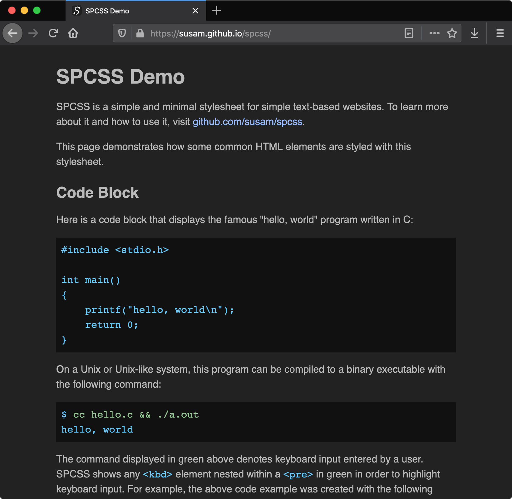 Demo of SPCSS light theme