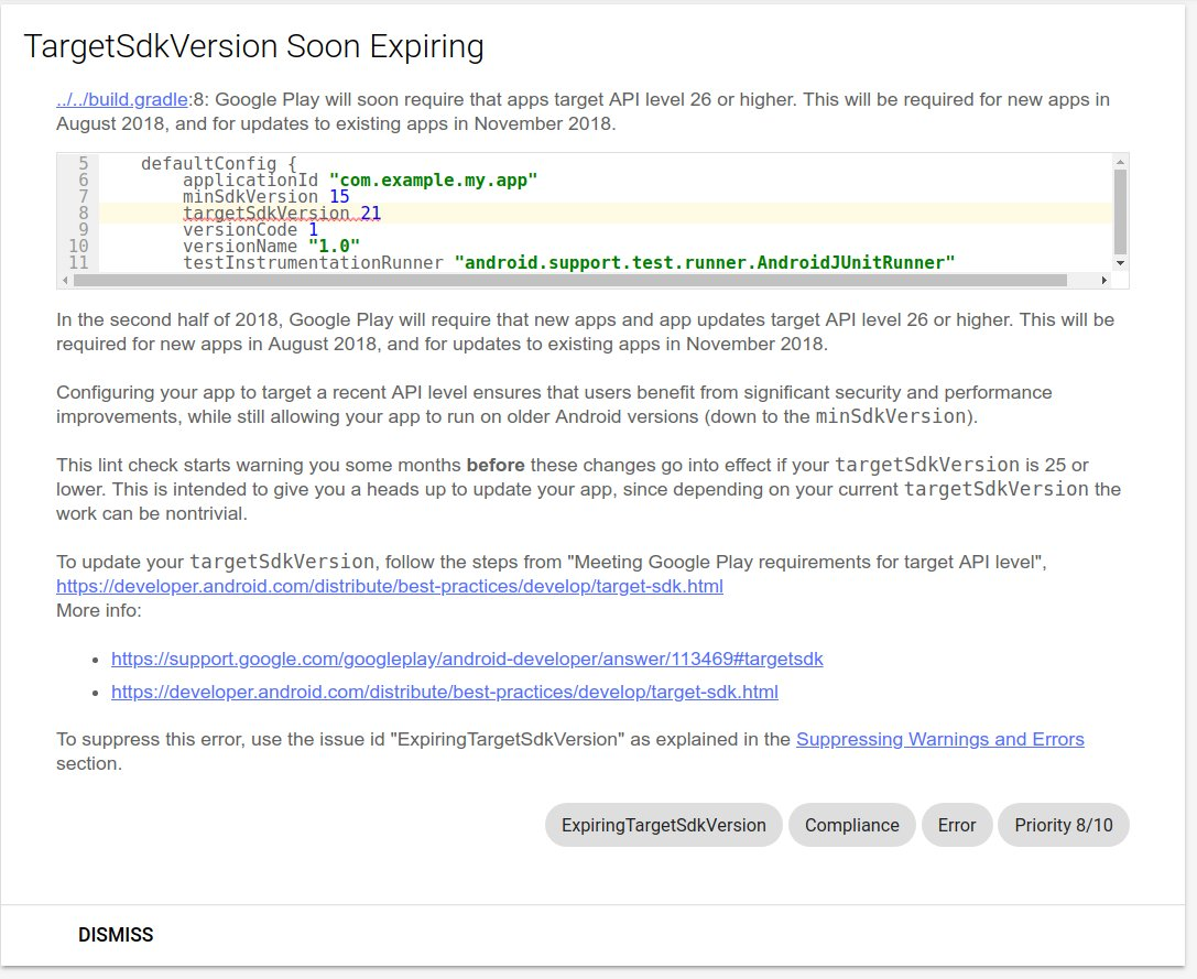 Throw a warning when targetSdkVersion is < 26 for new Google