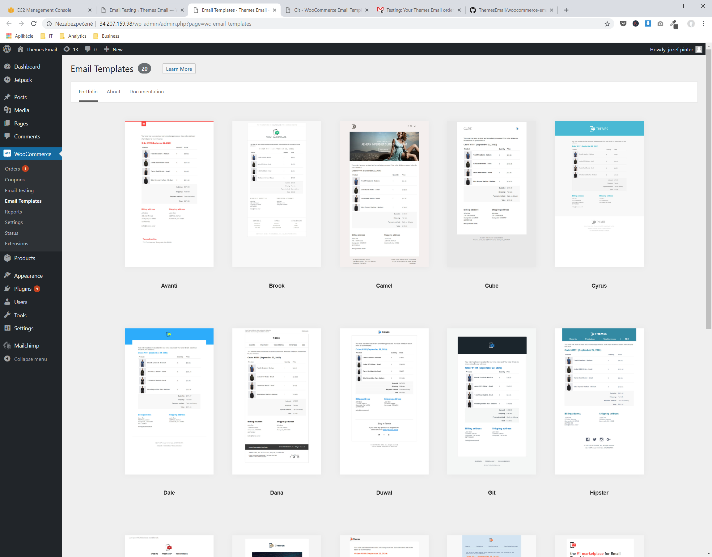 Email Templates page