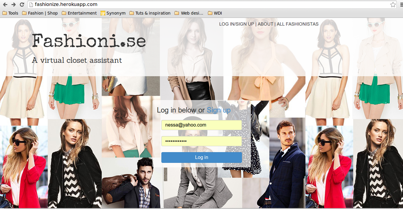Fashioni.se homepage